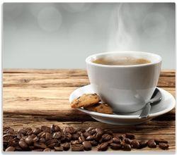 Herdabdeckplatte Heiße Tasse Kaffee mit Kaffeebohnen – Bild 1