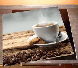 Herdabdeckplatte Heiße Tasse Kaffee mit Kaffeebohnen – Bild 2