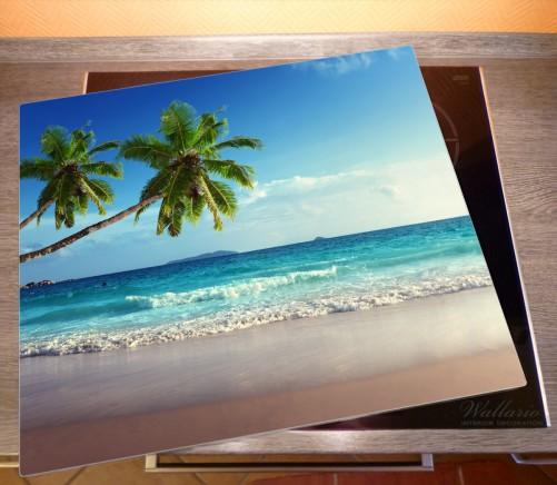 Herdabdeckplatte Sandstrand auf den Seychellen - Urlaub unter Palmen – Bild 2