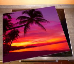 Herdabdeckplatte Abendrot unter Palmen - pinker Himmel am Strand – Bild 2