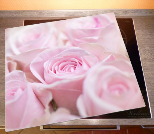 Herdabdeckplatte Rosafarbene Rosenblüten im Strauß – Bild 2