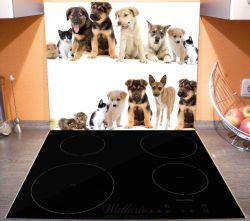 Herdabdeckplatte Süße Haustiere - Katzen, Hunde, Hamster, Küken – Bild 3