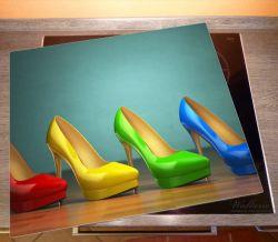 Herdabdeckplatte Bunte Schuhe - High Heels für Frauen – Bild 2