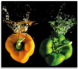 Herdabdeckplatte Bunte Küche  Paprika in orange und grün im Wasser – Bild 1