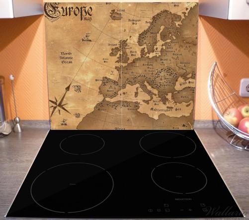 Herdabdeckplatte Alte Weltkarte   Karte von Europa in englisch – Bild 3