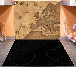 Herdabdeckplatte Alte Weltkarte,  Karte von Europa in englisch – Bild 3