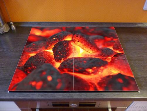Herdabdeckplatte Glühende Kohlen im Kamin – Bild 2