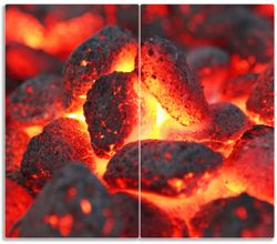 Herdabdeckplatte Glühende Kohlen im Kamin – Bild 1