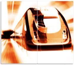 Herdabdeckplatte Fahrender Zug von vorn Design - Perspektive von vorn – Bild 1