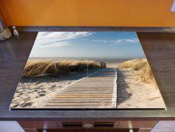 Herdabdeckplatte Auf dem Holzweg zum Strand – Bild 2