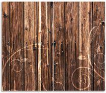 Herdabdeckplatte Holz in dunkelbraun mit Blumenmuster - Schnörkel