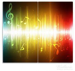 Herdabdeckplatte Blau-gelbe Noten der Musik – Bild 1