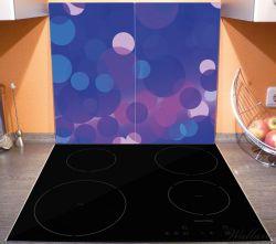 Herdabdeckplatte Blaue Kreise mit pink - harmonisches Muster – Bild 3