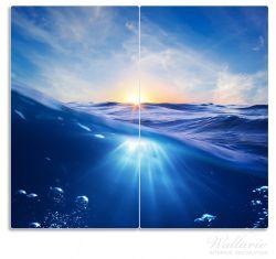 Herdabdeckplatte Wellen im Meer bei Sonnenuntergang – Bild 1