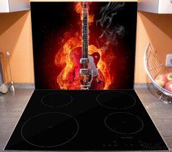 Herdabdeckplatte Brennende Gitarre – Bild 3