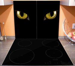 Herdabdeckplatte Gelb leuchtende Katzenaugen bei Nacht – Bild 3