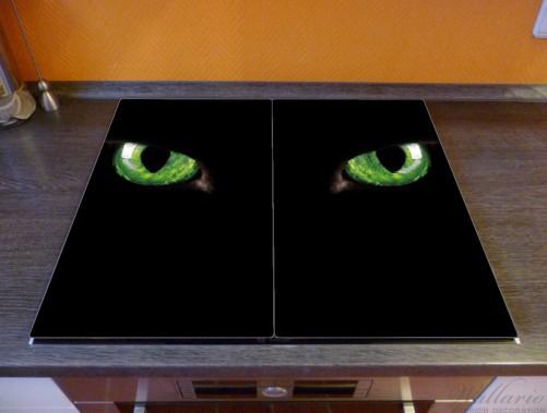 Herdabdeckplatte Grüne Katzenaugen bei Nacht – Bild 2