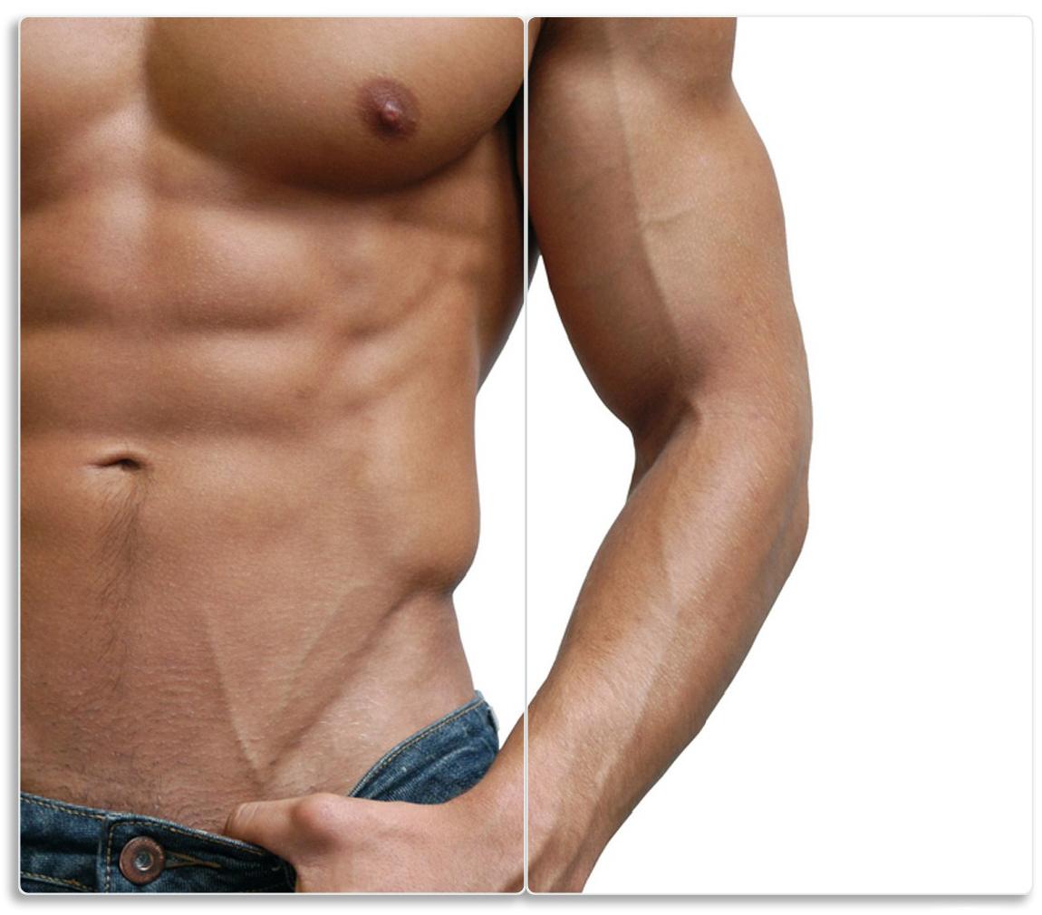 Herdabdeckplatte Halbnackter Mann mit Jeans – Bild 1