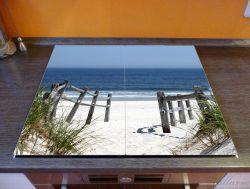Herdabdeckplatte Blick auf Strand – Bild 2