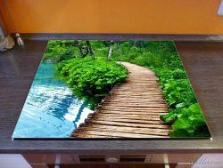 Herdabdeckplatte Holzweg im Wald – Bild 2