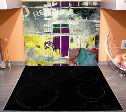 Herdabdeckplatte Retro-Style lila-gelb – Bild 3