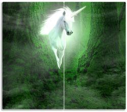 Herdabdeckplatte Weißes Einhorn im grünen Wald – Bild 1