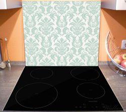 Herdabdeckplatte Königliche Schnörkelei in weiß und grün – Bild 3