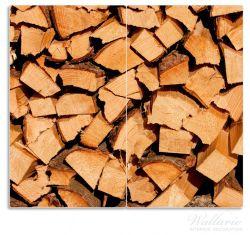 Herdabdeckplatte Holzstapel gehackt - Holzscheite für den Kamin – Bild 1