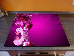 Herdabdeckplatte Rosafarbene Orchidee, Blüten in pink – Bild 2