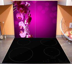 Herdabdeckplatte Rosafarbene Orchidee, Blüten in pink – Bild 3
