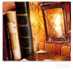 Herdabdeckplatte Antike Laterne mit Kerze  alten Büchern und Taschenuhr – Bild 1