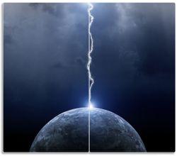 Herdabdeckplatte Gewitter über der Erde – Bild 1