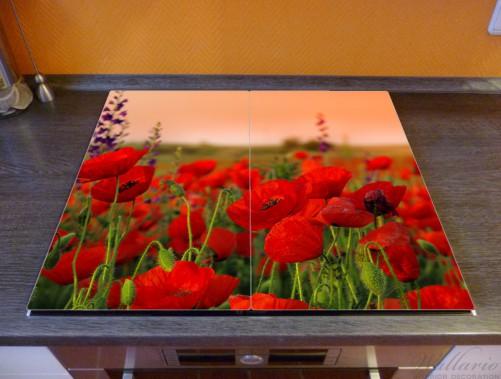 Herdabdeckplatte Mohnblumen auf dem Feld – Bild 2