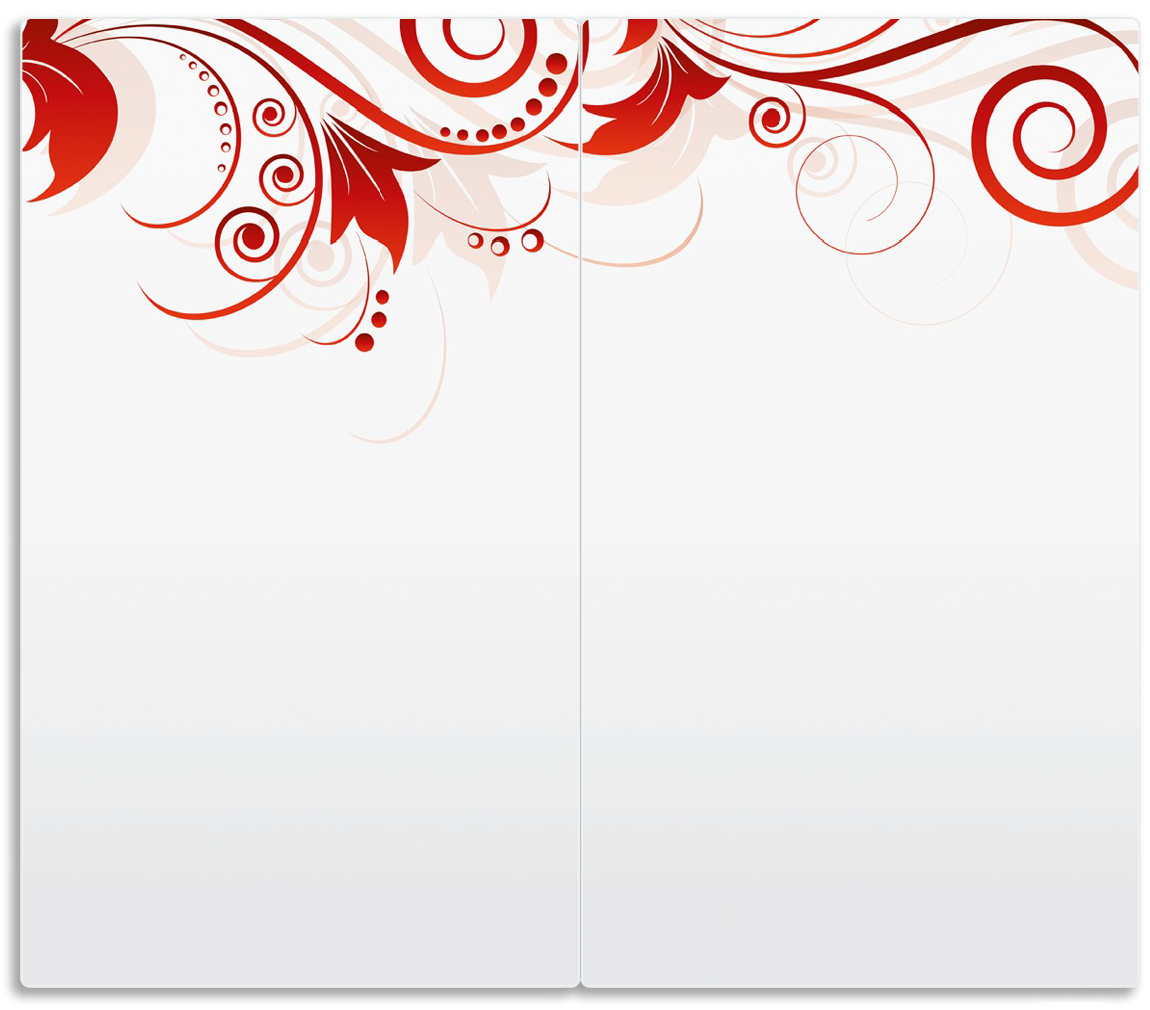 Herdabdeckplatte Abstrakte rote Blumenschnörkel – Bild 1