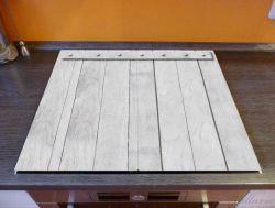 Herdabdeckplatte Graue Holztür – Bild 2