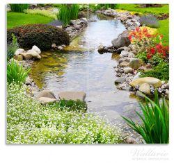 Herdabdeckplatte Blumen am Teich – Bild 1