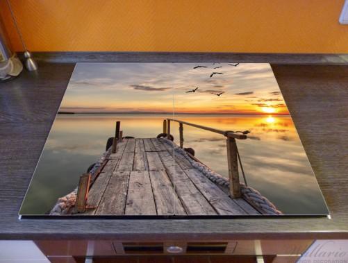 Herdabdeckplatte Sonnenuntergang über dem See  idyllischer Steg – Bild 2