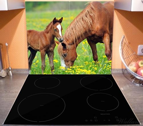 Herdabdeckplatte Pferde auf der Koppel – Bild 3