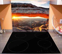 Herdabdeckplatte Sonnenstrahl am Horizont – Leuchtende Felsspalte – Bild 3