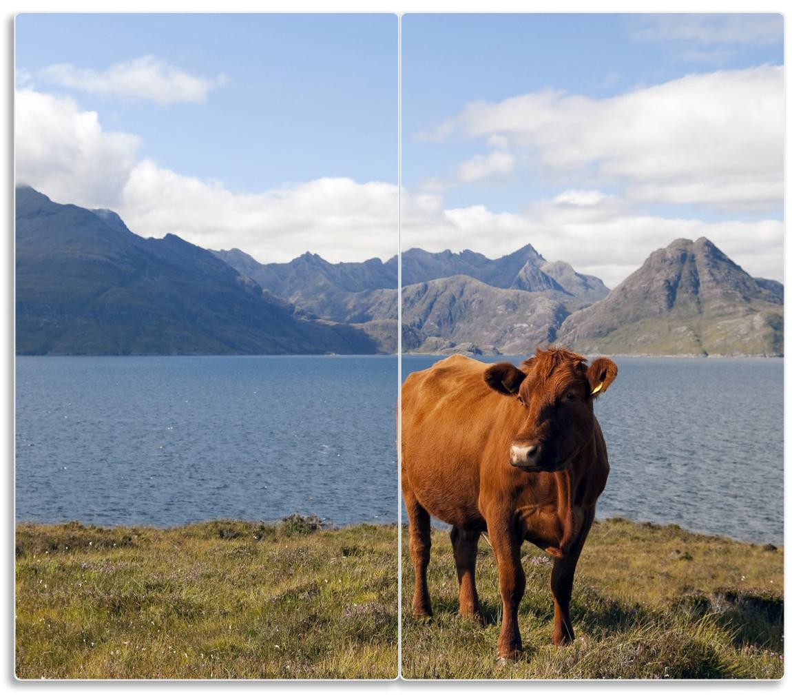 Herdabdeckplatte Kuh in den Bergen – Bild 1