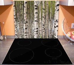 Herdabdeckplatte Birkenwald - Baumstämme in schwarz weiß – Bild 3