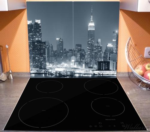 Herdabdeckplatte New York Skyline - Schwarz Weiß Blau – Bild 3