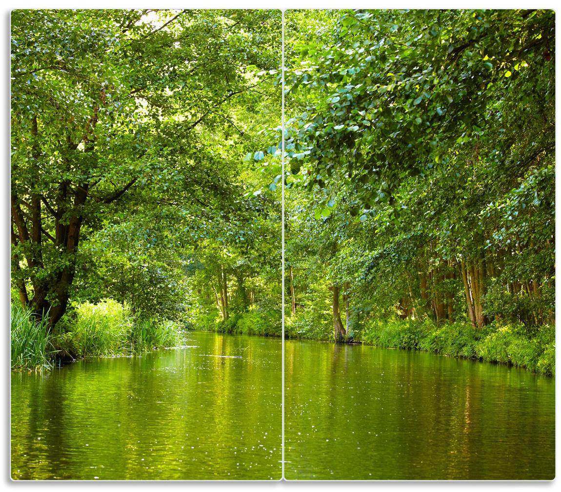 Herdabdeckplatte Spreewald in Brandenburg  grüne Wälder und Spiegelungen im Wasser – Bild 1
