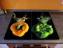 Herdabdeckplatte Bunte Küche  Paprika in orange und grün im Wasser – Bild 2