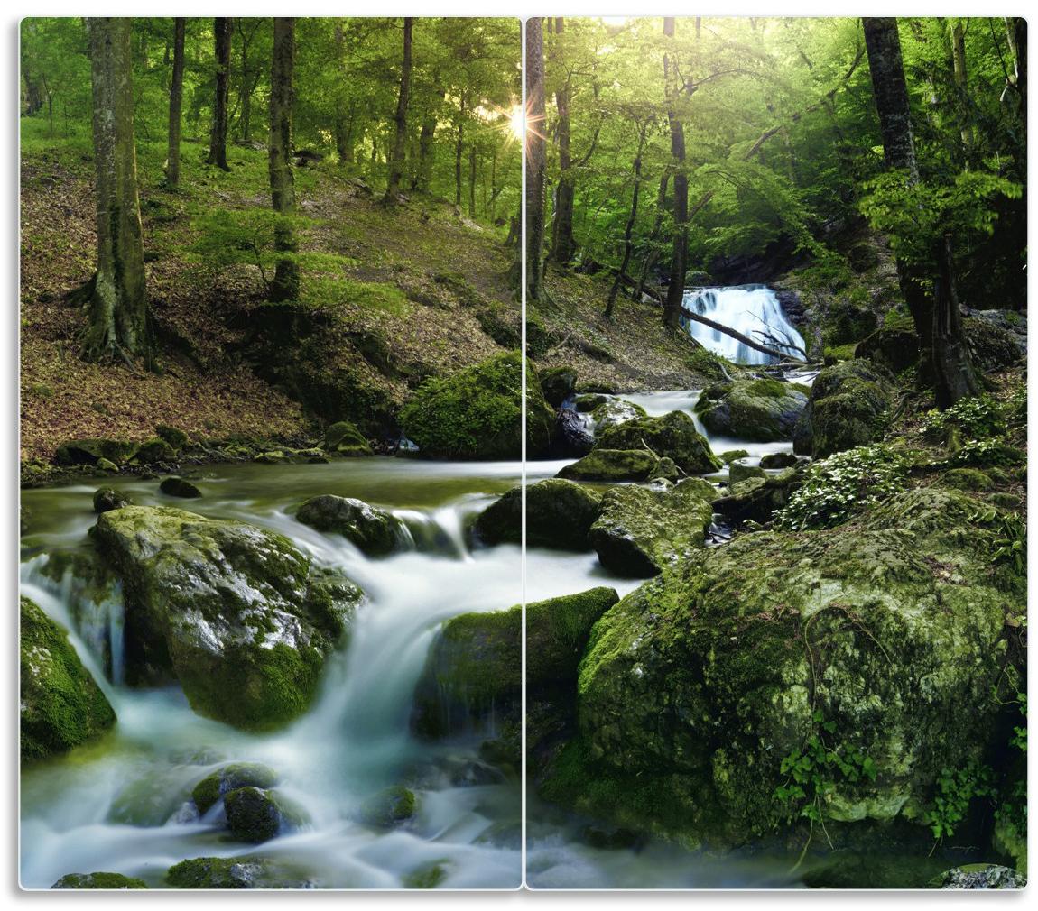 Herdabdeckplatte Fließender Bach im Wald bei Sonnenuntergang – Bild 1