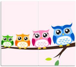 Herdabdeckplatte Eulenfamilie auf einem Ast  Comic Stil – Bild 1