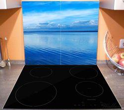 Herdabdeckplatte Blaue Meeresbucht in Italien mit Spiegelung im Wasser – Bild 3