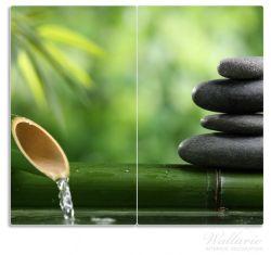 Herdabdeckplatte Steinstapel und Bambus auf dem Wasser – Bild 1