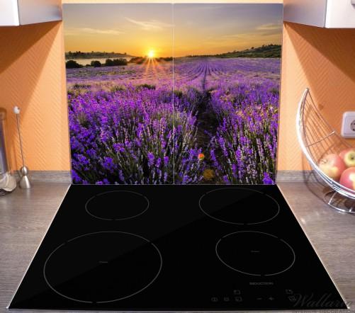 Herdabdeckplatte Sonnenuntergang über dem Lavendel – Bild 3