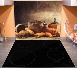 Herdabdeckplatte Französisches Frühstück mit Café und Croissants – Bild 3